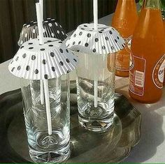 Use cupcake liners to keep bugs away from your drinks for outdoor occasions.