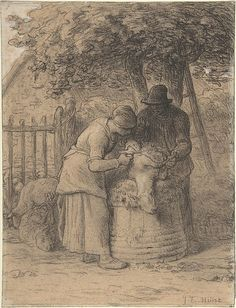 Sheepshearing Beneath a Tree Jean-François Millet. ca. 1854. Conté crayon with stumping, pen and brown ink, white gouache on wove paper.