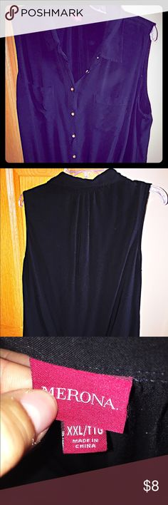 Merona Sleeveless Blouse Black w/ Gold Buttons Merona Sleeveless Blouse in Black; gold button details; collared neck; bottom of blouse is knotted for fun detailing; used but still good condition; size XXL but fits like a small Large or XL Merona Tops Blouses