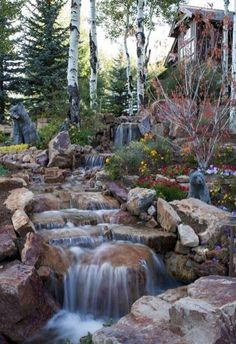 Amazing Fish Pond Ideas for Your Garden. Here we go, we give you some fish pond ideas. Has fish pond at home gives many advantages. From entertainment to eliminate boredom, beautify the look . Waterfall Landscaping, Pond Landscaping, Landscaping With Rocks, Backyard Garden Landscape, Ponds Backyard, Backyard Waterfalls, Backyard Ideas, Garden Ponds, Koi Ponds