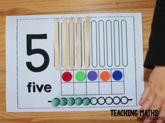 A simple activity to print, laminate and use over and over again. Popsicle sticks, counters and playdoh. Perfect for number identification, counting and one to one correspondence for Foundation (Kindergarten) kids. Kindergarten Activities, Counting Activities, Preschool Activities, Number Activities, Teaching Packs, Teaching Math, Teaching Resources, Math For Kids, Fun Math