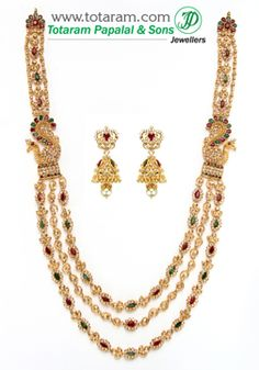 22K Gold Long Necklace & Drop Earrings Set with Uncut Diamonds - DS478 - Indian Jewelry from Totaram Jewelers