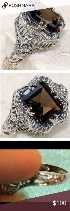 ❗️SALE❗️925 SS ring with 2CT Smokey Topaz Beautiful!!! Solid 925 Sterling Silver ring with 2CT Smokey Topaz size 6 925 Jewelry Rings