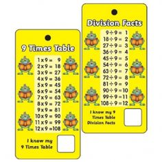 9 Times Tables & Division Facts - Pack of 10 Pocket Prompts