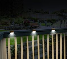 Ideaworks Solar Powered Deck Step Lights, 3 Pack Wall Mount Patio Rail Outdoor Lamp Light, White
