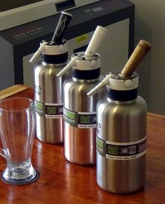 These are the new 64oz Stainless Growlers that will be available in June. They have a food grade CO2 cartridge to pressurize the canister. Safe to use and very easy to clean. It can be used for soda, beer or kombucha.    Product Designer: Steven Aguirre