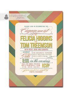 Engagement Party Invitation Mod Chevron Zig by digibuddhaPaperie