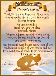 Thursday Morning Prayer, Sunday Prayer, Good Morning Prayer, Prayer For The Day, Morning Blessings, Morning Prayers, Thursday Quotes, Prayer Scriptures, Faith Prayer