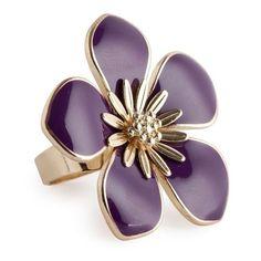 Purple Enamel Flower Ring found on Polyvore