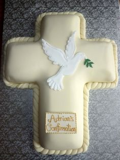 Confirmation Cross Cake with Royal Icing Dove Topper By sugardaze on CakeCentral.com