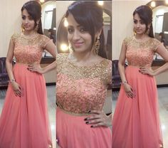 Trisha Krishnan dolled up in a stunning floor length peach gown by Mrinalini Rao. Party Wear Maxi Dresses, Gown Party Wear, Long Gown Dress, Anarkali Dress, Lehnga Blouse, Kurti Designs Party Wear, Lehenga Designs, Indian Gowns Dresses, Net Dresses