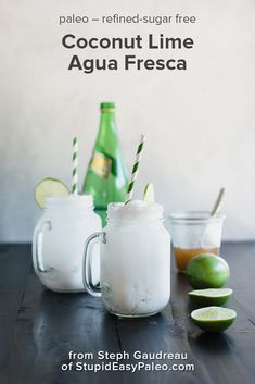 Coconut Lime Agua Fresca is a refreshing way to stay cool this summer! This bubbly homemade drink is paleo and refined sugar-free...plus, it comes together with just four simple ingredients. Serve it over ice and enjoy some chill. Get the recipe! | StupidEasyPaleo.com #summer #drinks #coconut #lime #norefinedsugar #paleo #paleorecipes