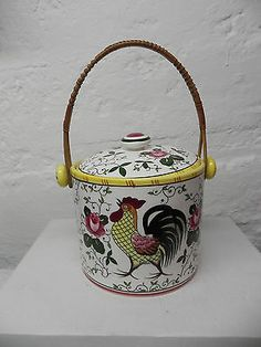 1940s Roosters and Roses biscuit jar or ice bucket with rattan handle