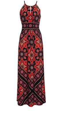 Red Scarf Print Maxi Dress  $84 at WallisFashion.com