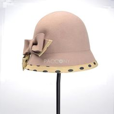 Wave Dot Autumn Lovely Trilby Hats Beret Hats(Apricot) |Hats :... via Polyvore