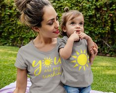Mommy and Me Shirts Set - You Are My Sunshine Mommy and Baby Set Baby Shirts, Family Shirts, Mom Shirts, Matching Couple Shirts, Matching Family Outfits, Mom And Son Outfits, Couple Shirt Design, Mommy And Me Shirt, Sunshine Birthday