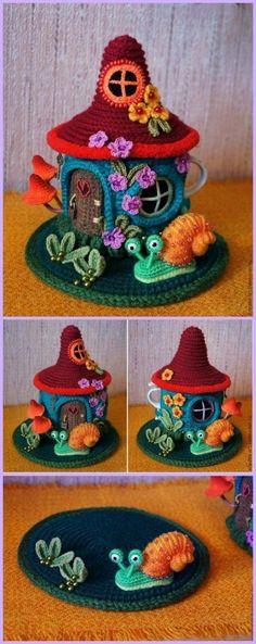 Crochet Fairy House Teapot Cozy Free Patterns tutorials