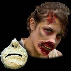 Zombie torn lips makeup prosthetic-windigo