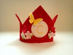 Cream Felt First Birthday Crown Personalized Initial Flower and Butterfly