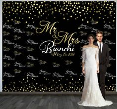 Wedding Photo Backdrop Custom Personalized Step And Repeat Black