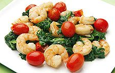 Garlic Shrimp With Spinach and Cherry Tomatoes - 5 ingredients
