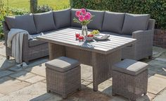 Palma Corner Set An incredibly popular garden furniture set from our Casual Dining range. The Palma Corner Set is made of high quality weather-proof weave. Find out mo. Grey Rattan Garden Furniture, Plastic Garden Furniture, Garden Furniture Sets, Outdoor Furniture Sets, Outdoor Decor, Furniture Ideas, Painted Garden Furniture, Deck Furniture, Outdoor Ideas