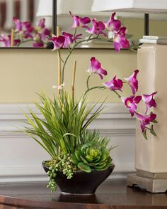 Dendrobium Orchids & Succulents<br>Artificial Plant Arrangement
