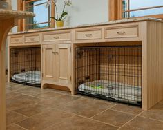 For people who kennel their dog(s) it is nice to be able to incorporate kennels into rooms. This is a super idea for a laundry room. Love this idea. Have our kennels sitting in the kitchen. Wish I had spot to put them under the counter.