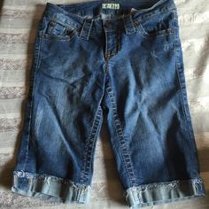 Paris Blues Denim Shorts Paris Blues Denim shorts. Worn only a couple of times. Fold at the bottom with some fray(factory made). 11.5 inch inseam, 20 inches top to bottom. 15 inch waist that stretches to 16.25. Paris Blues Shorts Jean Shorts