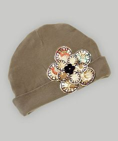 Take a look at this Sepia Flower Patch Beanie by Truffles Ruffles on #zulily today! $14 !!