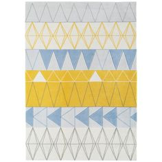 This 'Boca Stockholm' rug is a perfect way to embrace the on-trend Scandi look. Featuring a distinctive geometric pattern finished in muted tones with pops of yellow, it will complement light and airy interiors.