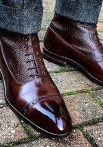 Handmade Men Two Tone Wingtip Cap Toe Boots Leather Boot, me.- Handmade Men Two Tone Wingtip Cap Toe Boots Leather Boot, men ankle shoes - Ankle Shoes, Men's Shoes, Shoe Boots, Shoes Men, Ladies Shoes, Men Dress Shoes, Ladies Footwear, Shoes Style, Girls Shoes