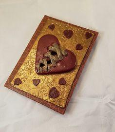 Steampunk journal, steampunk, steampunk notebook, steampunk heart, custom journal, clay notebook, polymer clay journal, handmade journal - pinned by pin4etsy.com