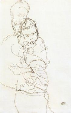"artist-schiele: ""Mother and Child via Egon Schiele Size: 43.8x28 cm Medium: pencil on paper"""