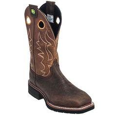 John Deere Boots: Men's Brown JD5314 Square Steel Toe Cowboy Boots