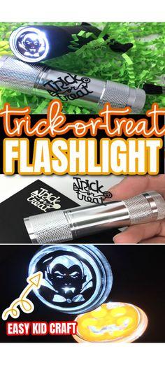 Turn a regular flashlight into a fun Halloween light. Great kids craft.