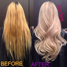My client Lynna and has thick Asian hair but had a brassy bleach job with severely dry ends! I lifted her blonde to create this heavenly pearl blonde! 6 hours !