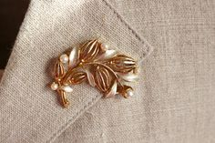 Vintage Golden Brooch Leaves and Pearls by LittleRetronome on Etsy