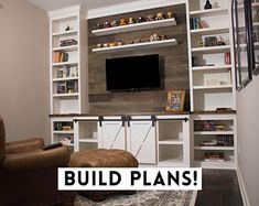Living Room Entertainment Center, Diy Entertainment Center, Entertainment Shelves, Mdf Shelving, Tv Wall Shelves, Built In Shelves Living Room, Diy Built In Shelves, Tv Built In, Built In Tv Wall Unit