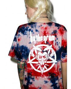 #DollsKill #lookbook #photoshoot #model #HUF #by #the #gram #blood #wash #tee #shirt #tiedye #red #blue #tshirt
