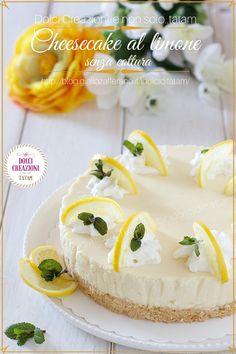 Cheesecake al limone senza cottura, un dolce fresco, veloce e senza fatica.   Ingredienti. per la base: 150 g Biscotti secchi 60 g Burro per la crema al limone: 400 g Formaggio fresco spalmabile 400 g Latte condensato 2 cucchiai Scorza di limone 80 ml Succo di limone 10 g Colla di pesce 3 cucchiai Latte per decorare: Panna montata 8 fette Limone Foglioline di menta fresca  #cheesecake #pinteresrxaltervista #dolci #dessert #limone #ricetta #nobakecheesecake #gialloblog #food #foodie #lemon Fett, Desserts, Tailgate Desserts, Deserts, Postres, Dessert, Plated Desserts