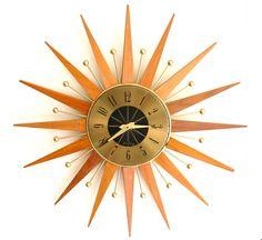 ATOMIC Mid Century Modern Sunburst Wall Clock.