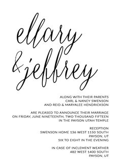 Ellary and Jeff - Utah Announcements Payson Utah, Utah Temples, Invitation Maker, Simple Wedding Invitations, Announcement, Marriage, Valentines Day Weddings, Mariage, Weddings
