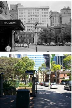 Old St James Railway entrance in 1953 and current railway entrance in 2014 Library>Allan Hawley] Metro Rail, History Photos, Hyde Park, Historical Photos, Old Photos, Sydney, Entrance, Victoria, Houses