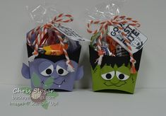 Halloween Fry Boxes - Dracula and Frankenstein made with Stampin' Up! Fry Box Die