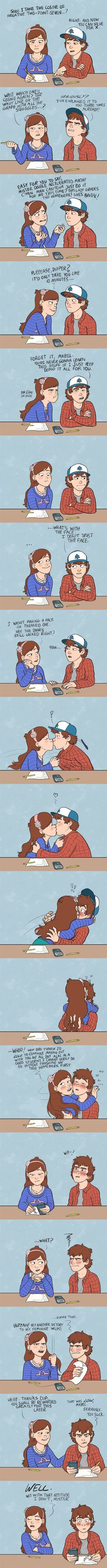 Trust me I'm HATE pinecest but I love this comic with out the kiss
