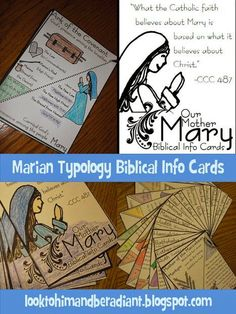 Mary and Scripture- Printable Marian Typology cards connecting Mary and the Old Testament. From looktohimandberadiant.blogspot.com