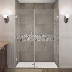 Aston Nautis GS 53-in x 72-in Completely Frameless Hinged Alcove Shower Door in
