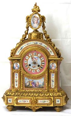 Antique clock Napoleon III, French, gilt bronze and pink celeste ground Sèvres style mantel clock Wall Clock Brands, Wall Clock Online, Plywood Furniture, Antique Mantel Clocks, Vintage Clocks, Eames, Wall Clock Luxury, French Clock, Classic Clocks