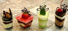 trendy desserts in small size shot glasses